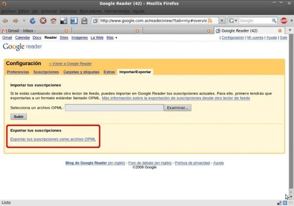 Exportando feeds desde Google Reader